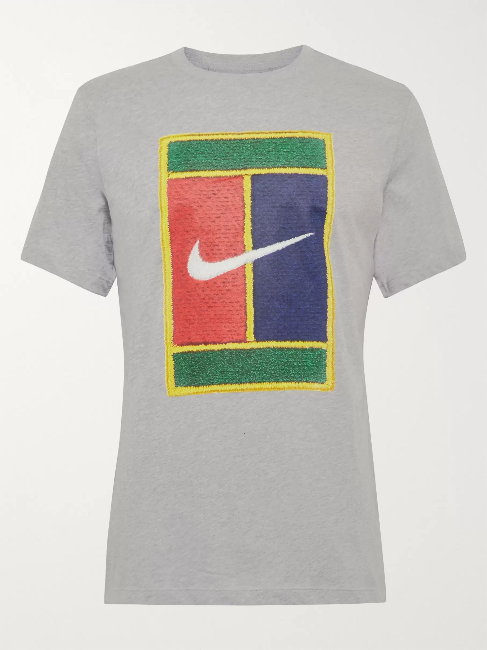 Nike Tennis Court Logo-Embroidered Cotton-Jersey T-Shirt