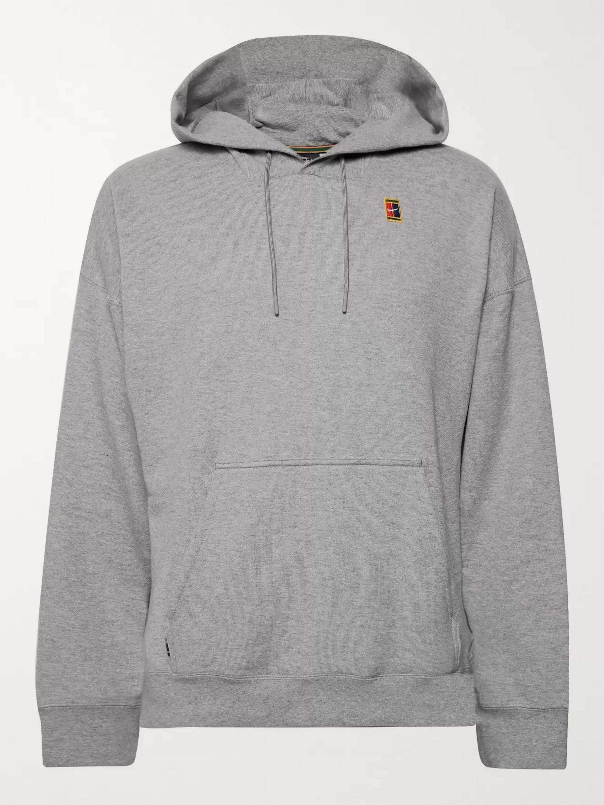 Nike Tennis NikeCourt Logo-Appliquéd Loopback Cotton-Jersey Hoodie