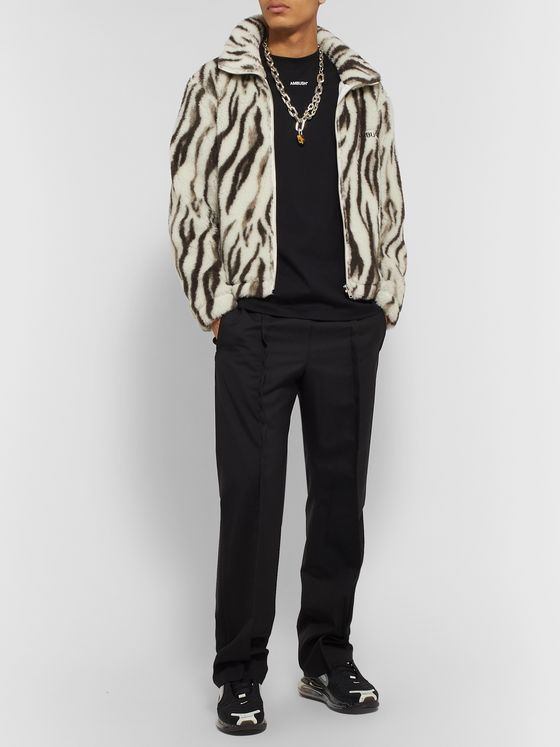 AMBUSH® Logo-Embroidered Zebra-Print Wool-Fleece Jacket