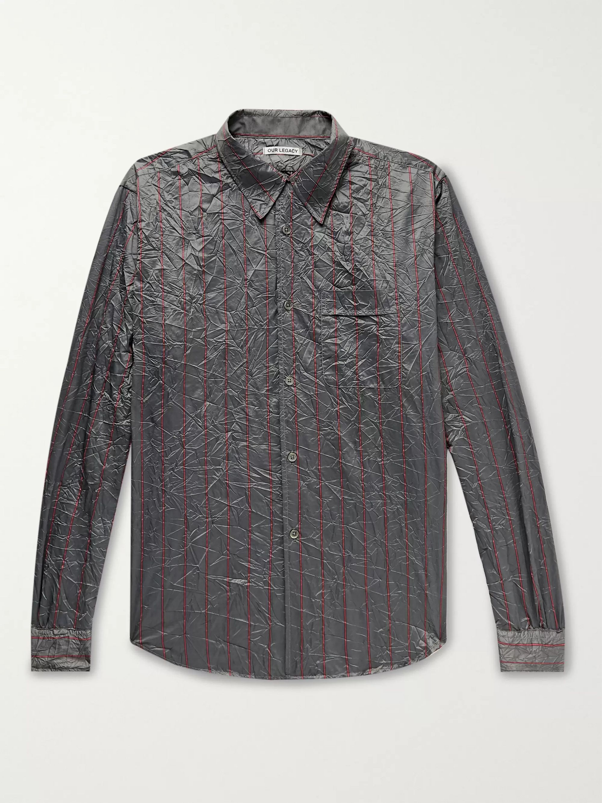Our Legacy Policy Crinkled Striped Woven Shirt