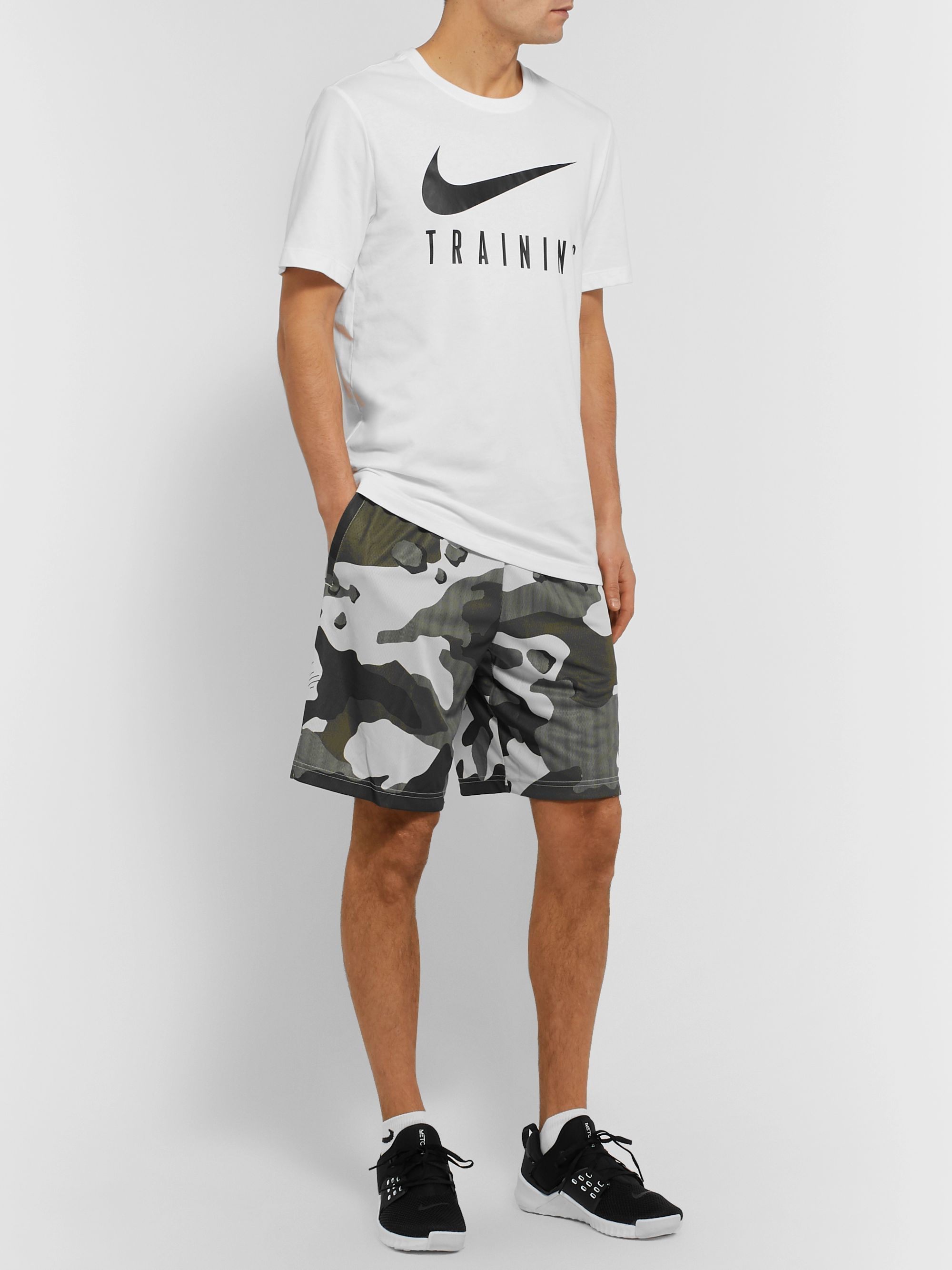 Gray Camouflage Print Dri FIT Shorts | Nike Training | MR PORTER