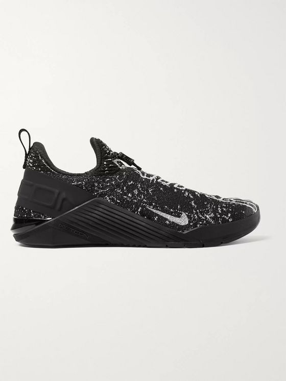 Nike Training React Metcon Rubber-Trimmed Logo-Print FlyKnit Sneakers