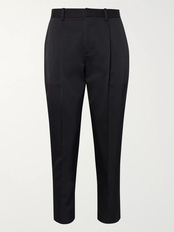 Theory Page Tapered Cropped Pleated Twill Trousers