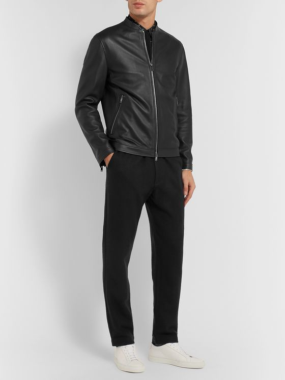 Theory Morrison Benji Slim-Fit Perforated Leather Jacket