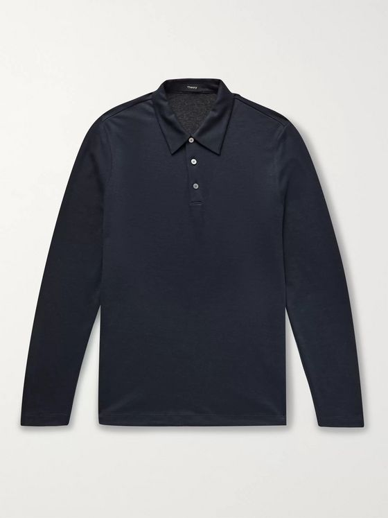 Theory Slim-Fit Tencel Lyocell-Blend Polo Shirt