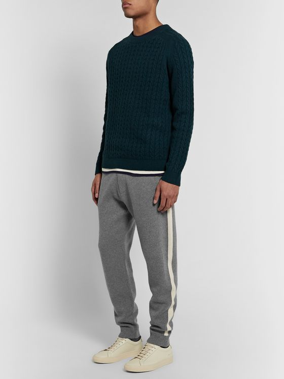 Theory Astine Tapered Striped Wool and Cashmere-Blend Sweatpants