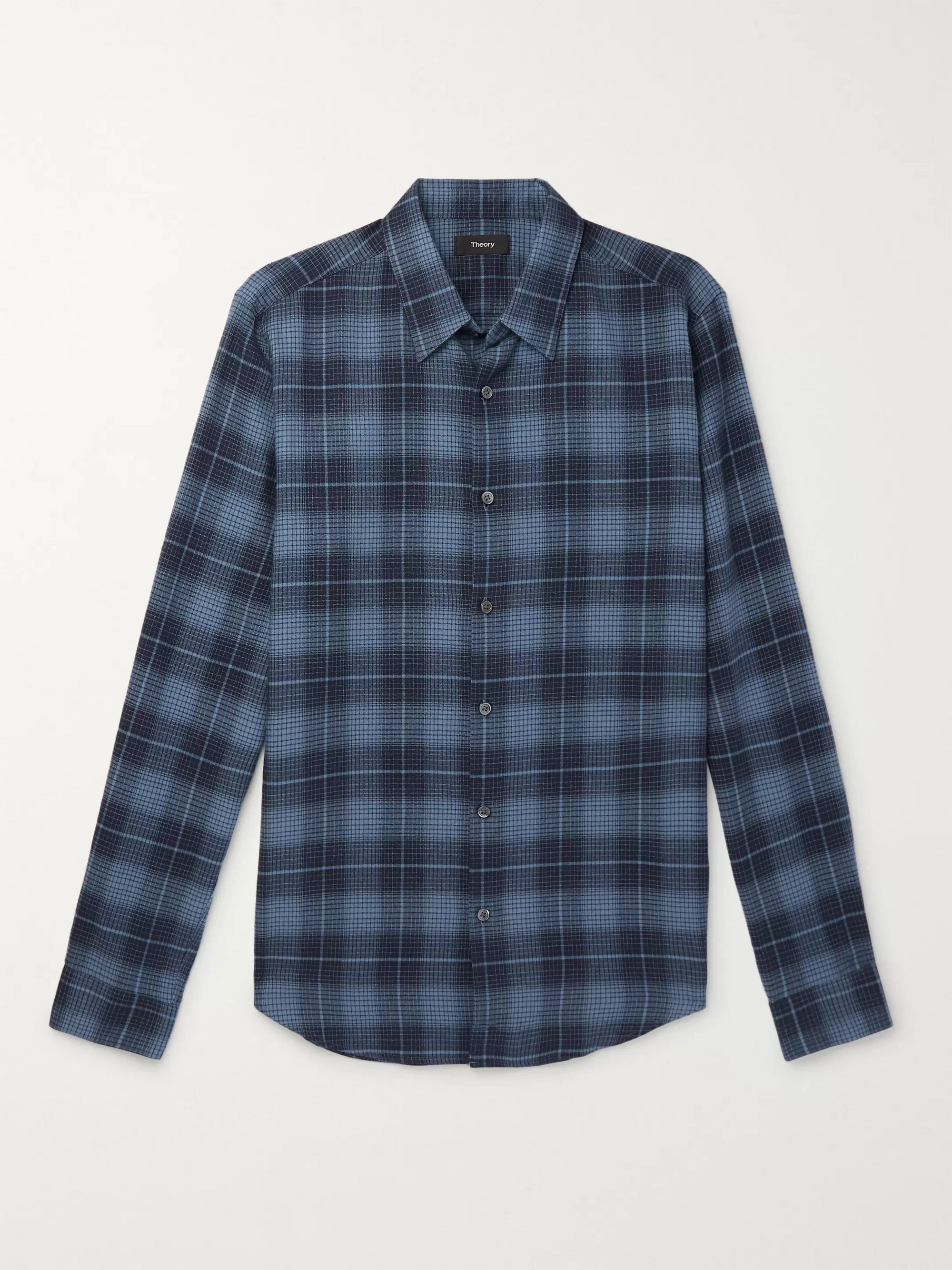 Theory Irving Checked Cotton-Flannel Shirt