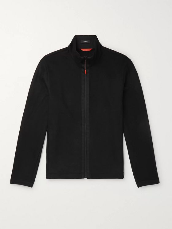 Theory Faber Slim-Fit Grosgrain-Trimmed Wool-Blend Jacket