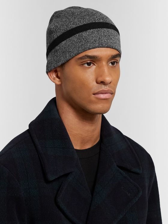 Theory Striped Mélange Cashmere Beanie