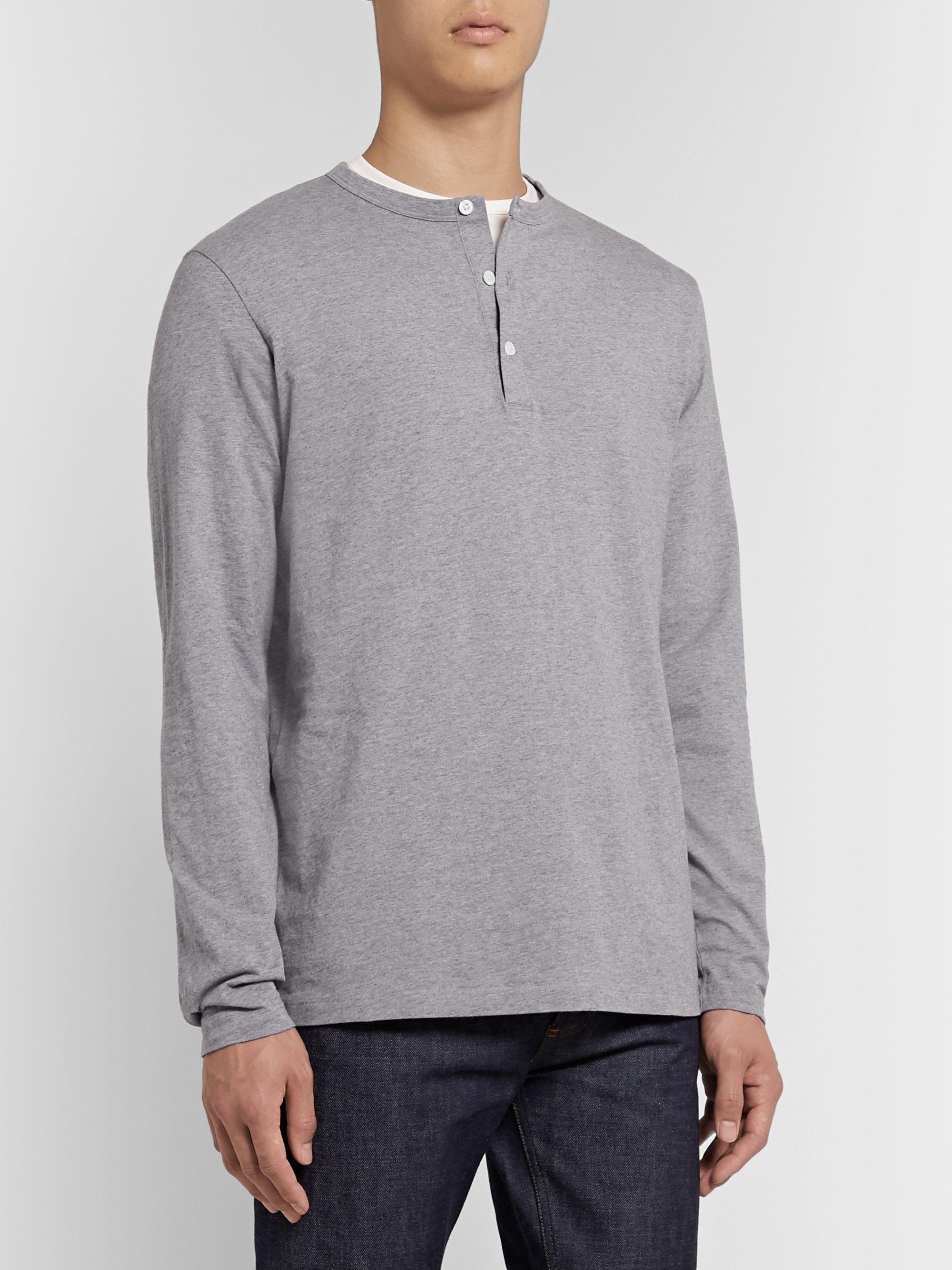 Henley style Top | Light gray melange | Women | H&M US