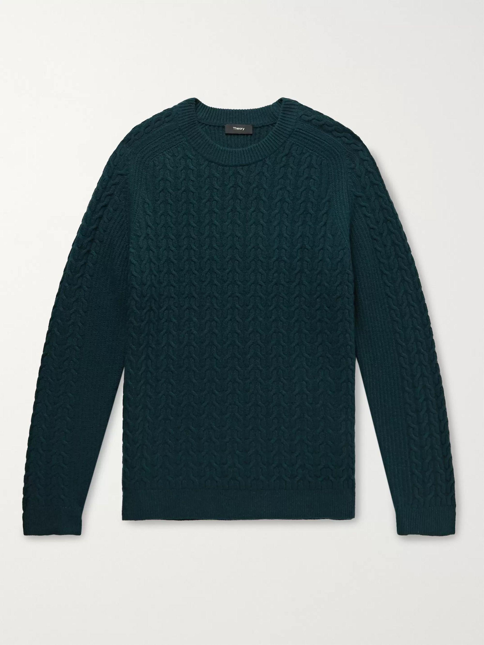 띠어리 Theory Green Nardo Cable-Knit Wool-Blend Sweater,Green