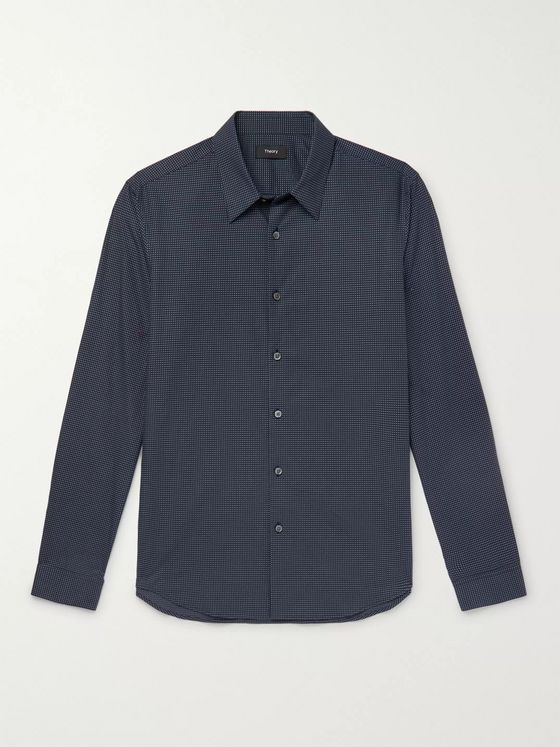 Theory Irving Embroidered Cotton Shirt