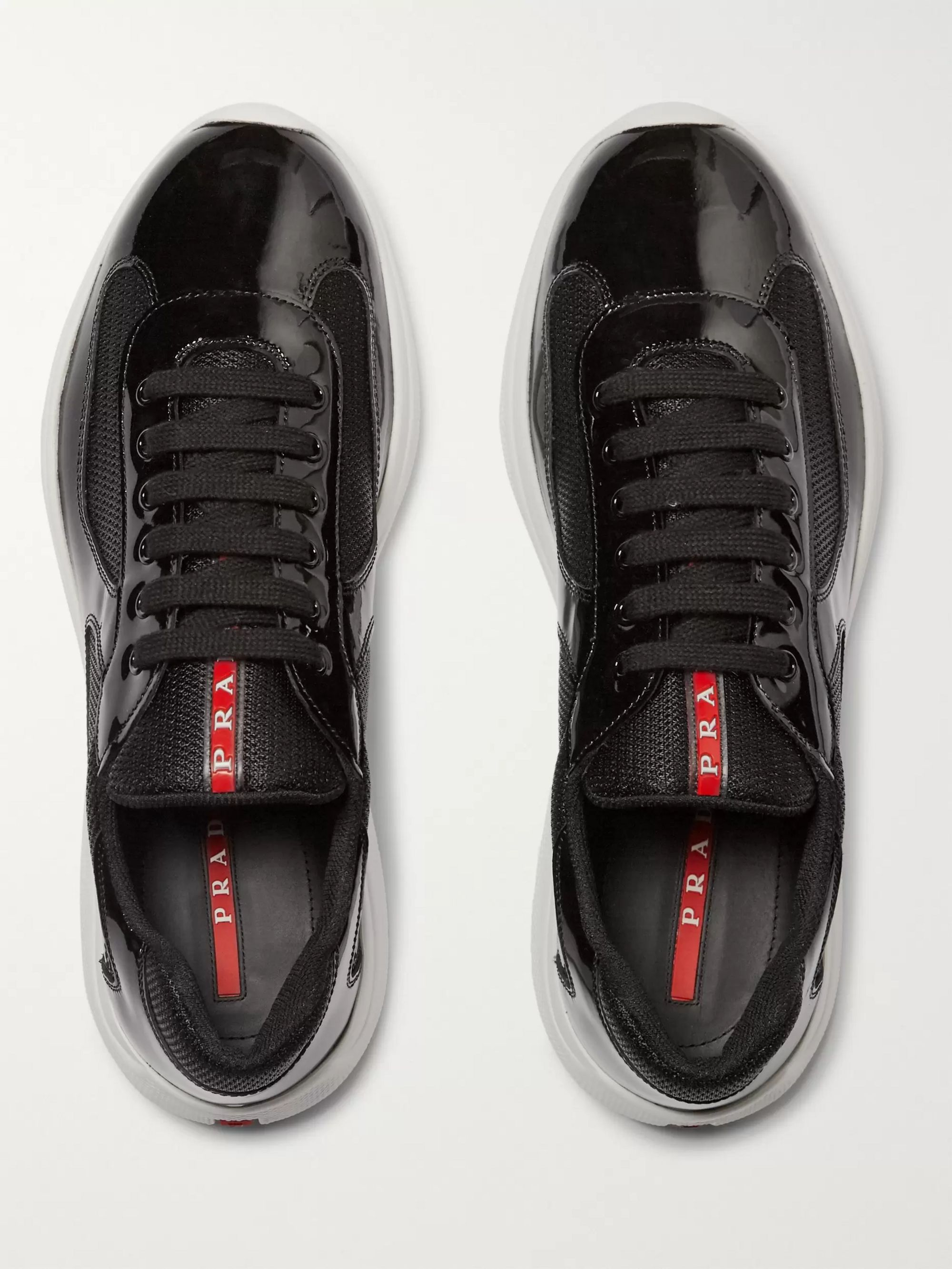 Prada America's Cup Patent-Leather and Mesh Sneakers