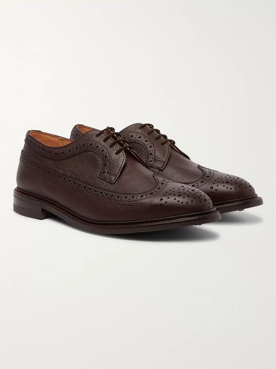 Tricker's Fulton Olivvia Pebble-Grain Leather Longwing Brogues