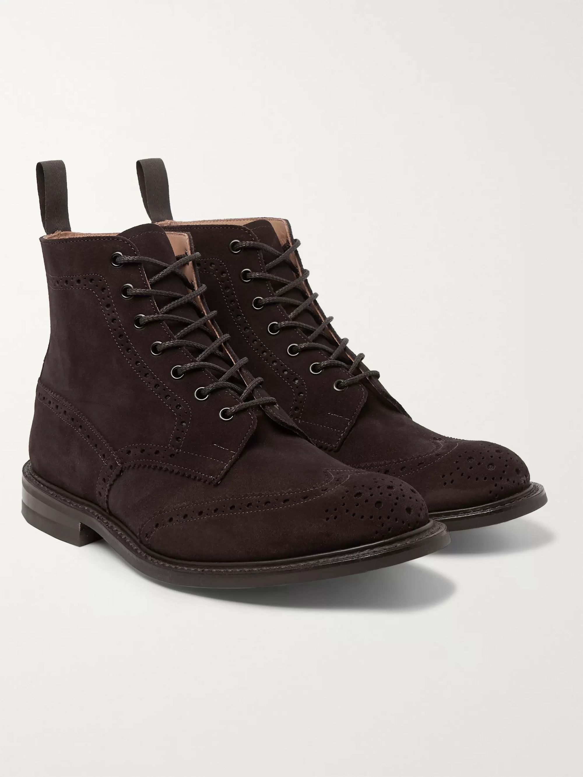 Brown Stow Suede Brogue Boots   Tricker