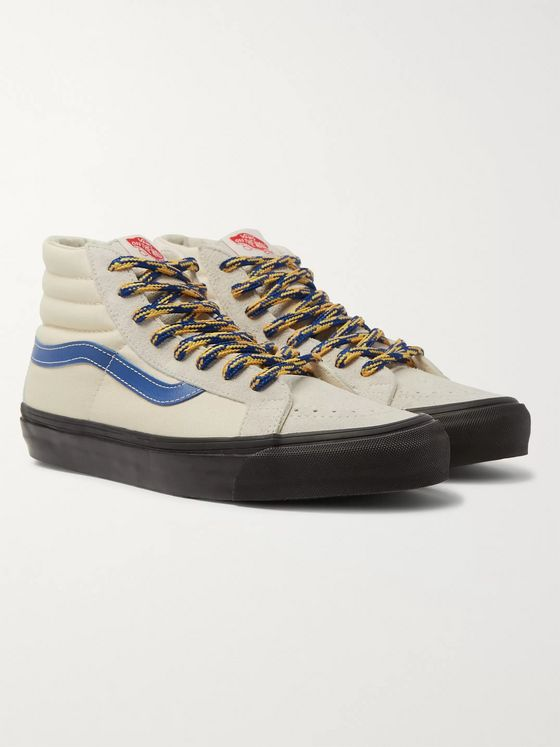 Vans Vault UA OG SK8-Hi LX Leather-Trimmed Canvas and Brushed-Suede High-Top Sneakers