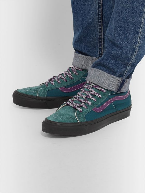 Vans UA OG SK8-Hi LX Leather-Trimmed Canvas and Brushed-Suede High-Top Sneakers