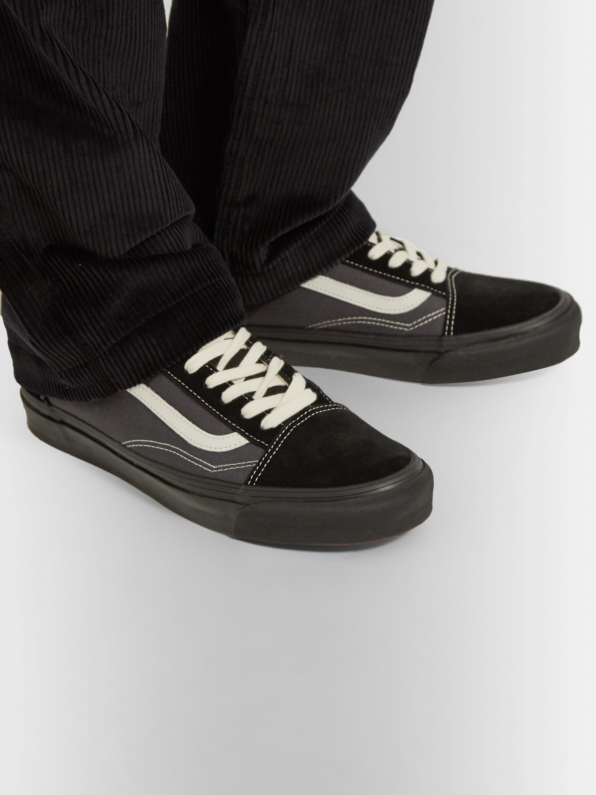 UA OG Old Skool LX Leather Trimmed Canvas and Suede Sneakers