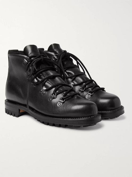 Viberg Shearling-Lined Leather Hiking Boots
