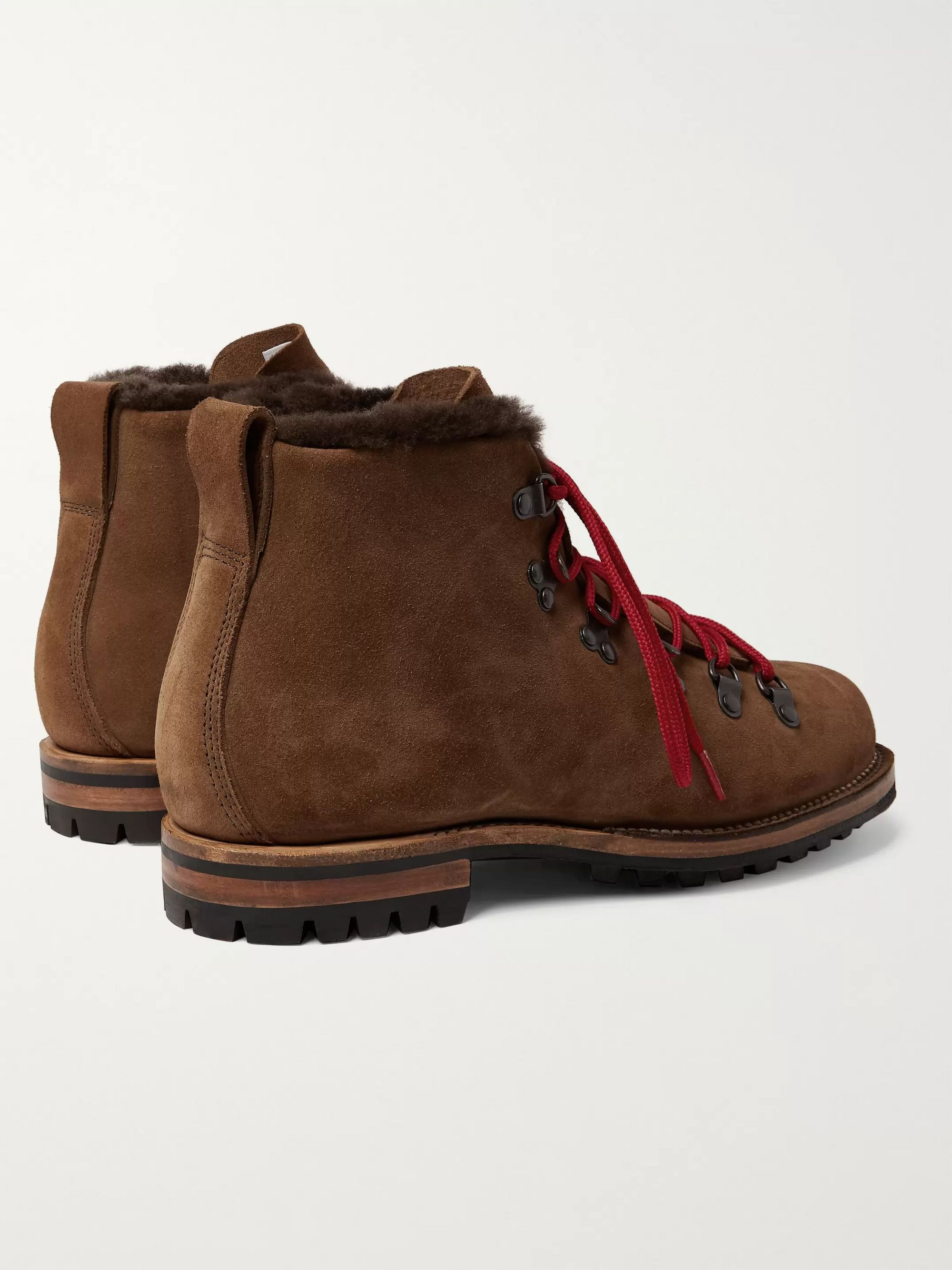 Viberg Shearling-Lined Suede Hiking Boots