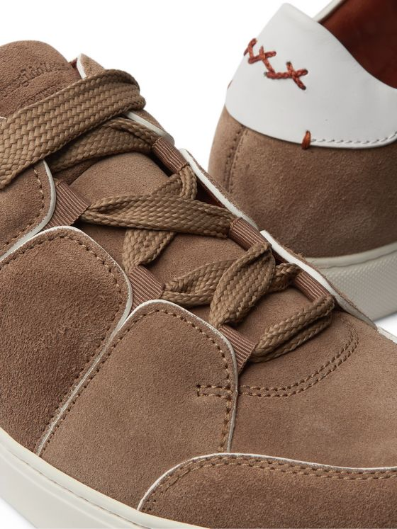 Ermenegildo Zegna Tiziano Leather-Trimmed Suede Sneakers