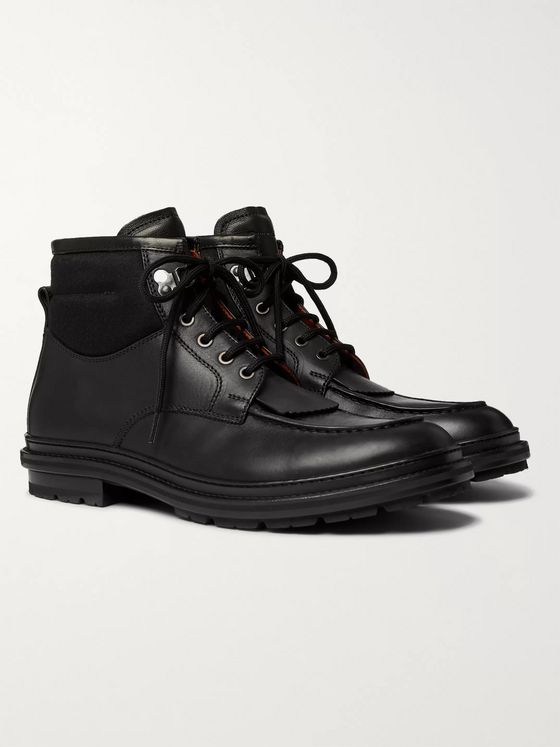 Ermenegildo Zegna Felt-Panelled Leather Boots