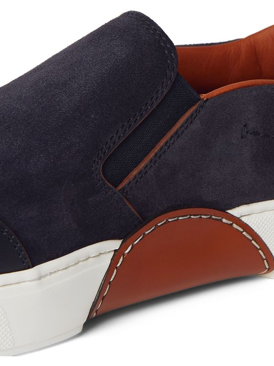 Ermenegildo Zegna Tiziano Leather-Trimmed Suede Slip-On Sneakers