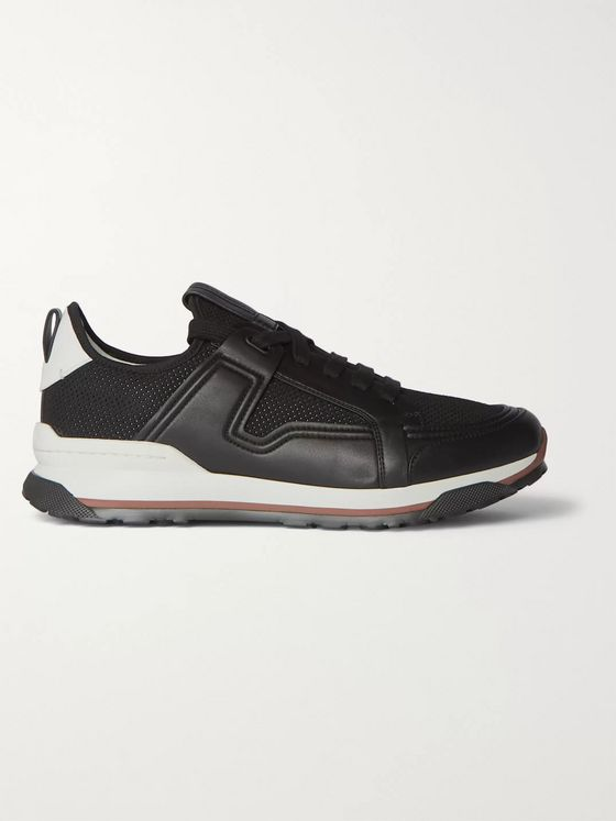 Ermenegildo Zegna Siracusa Leather and Mesh Sneakers