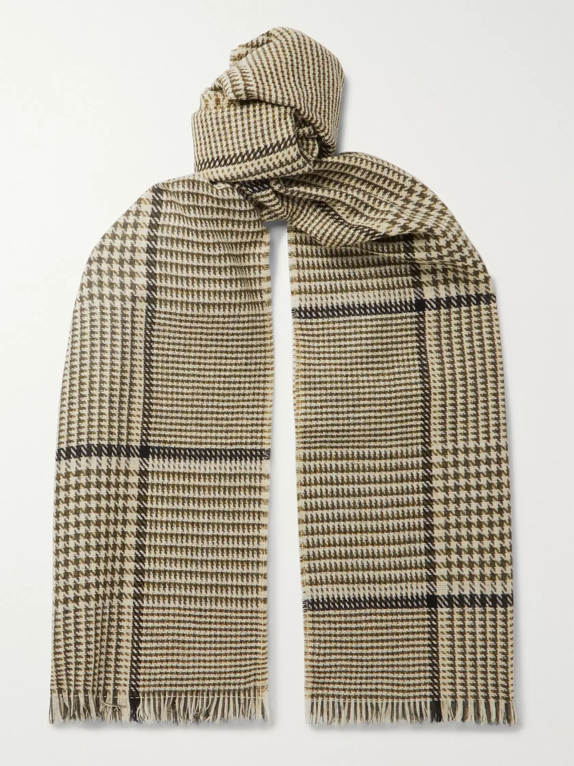 Mr P. Fringed Prince of Wales Checked Wool and Cashmere-Blend Scarf