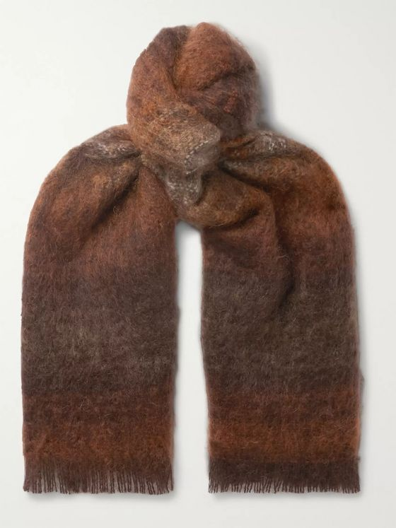 Mr P. Striped Fringed Mohair-Blend Scarf