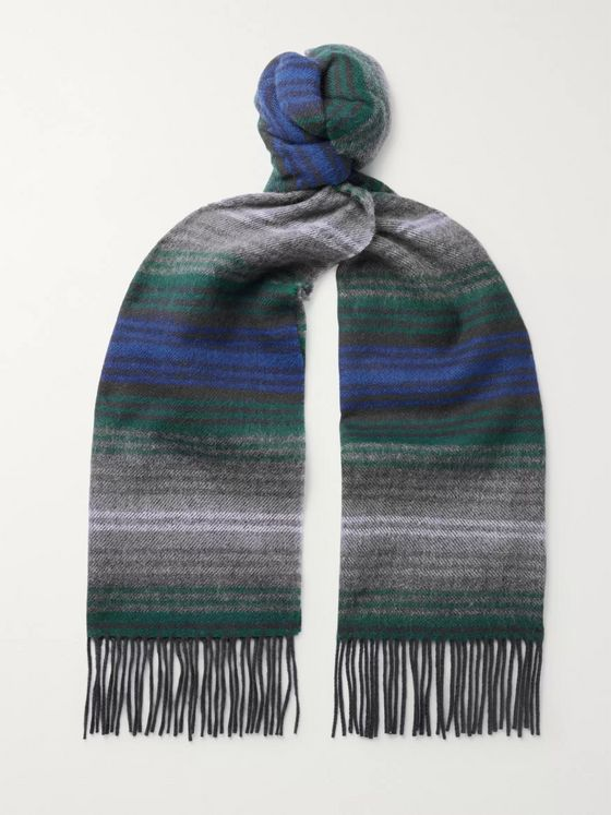 Mr P. Fringed Striped Wool Scarf