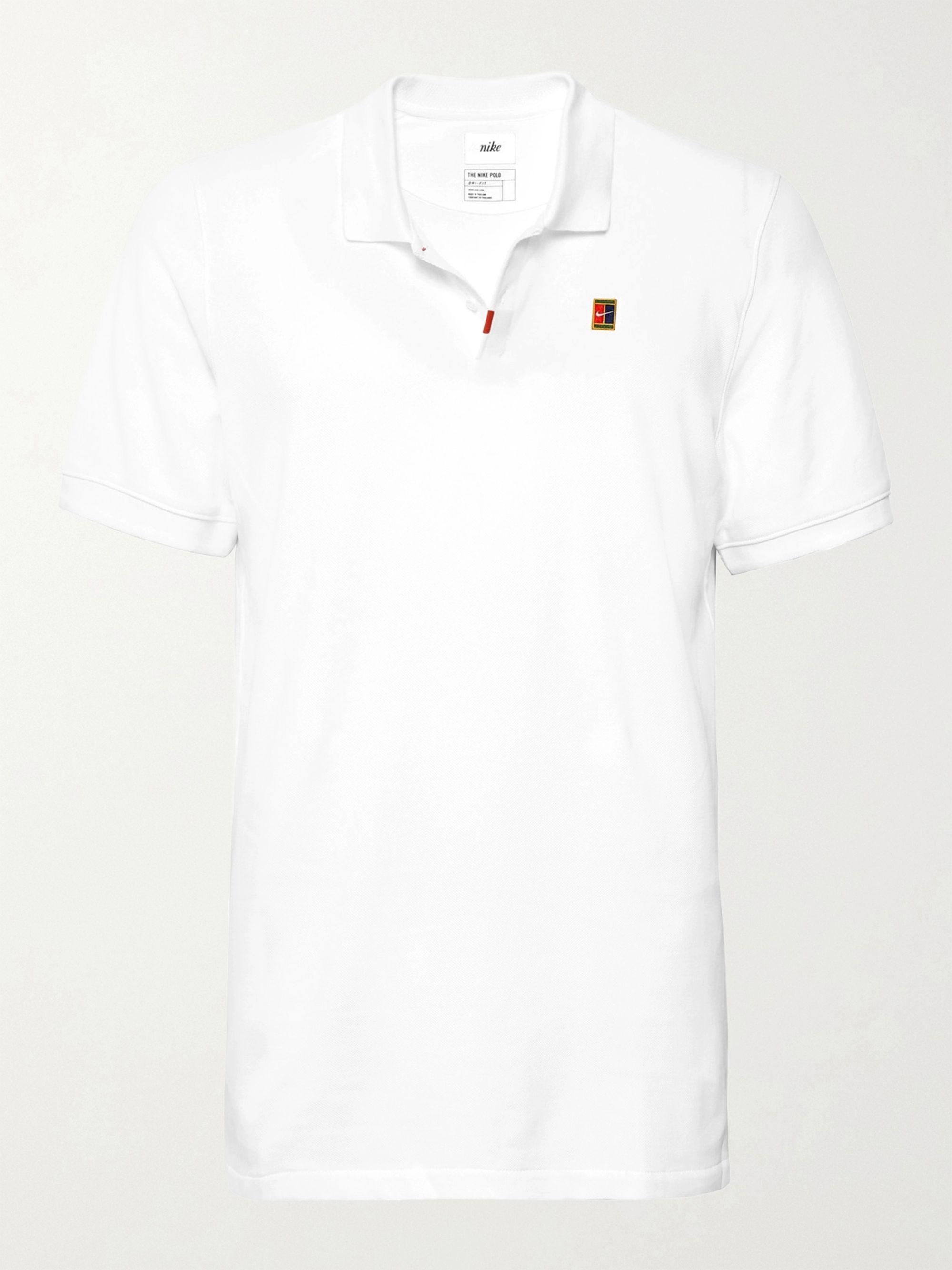 wide varieties fantastic savings authorized site White Slim-Fit Cotton-Blend Dri-FIT Piqué Polo Shirt | Nike Tennis ...