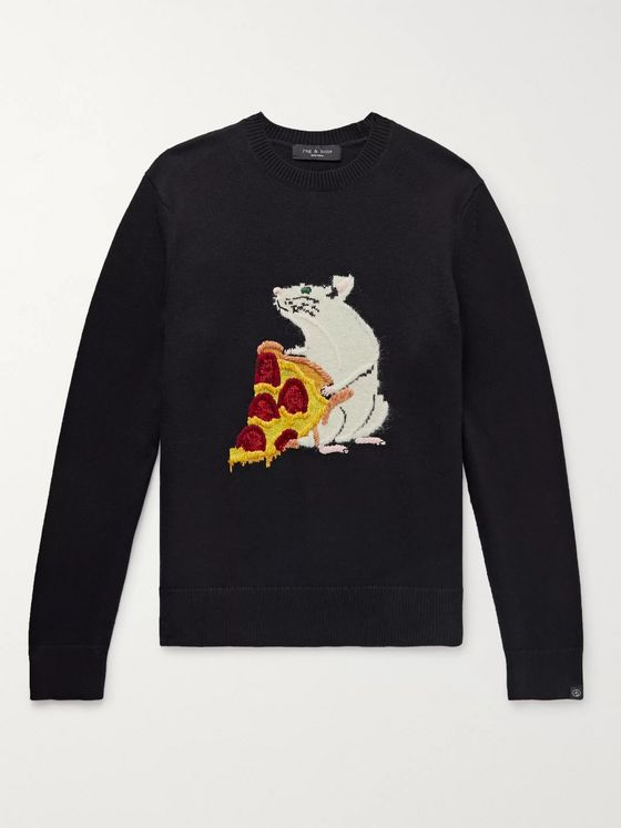 rag & bone Intarsia Cotton and Cashmere-Blend Sweater