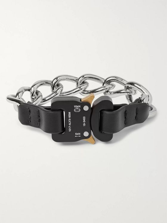 1017 ALYX 9SM Leather-Trimmed Silver-Tone Bracelet