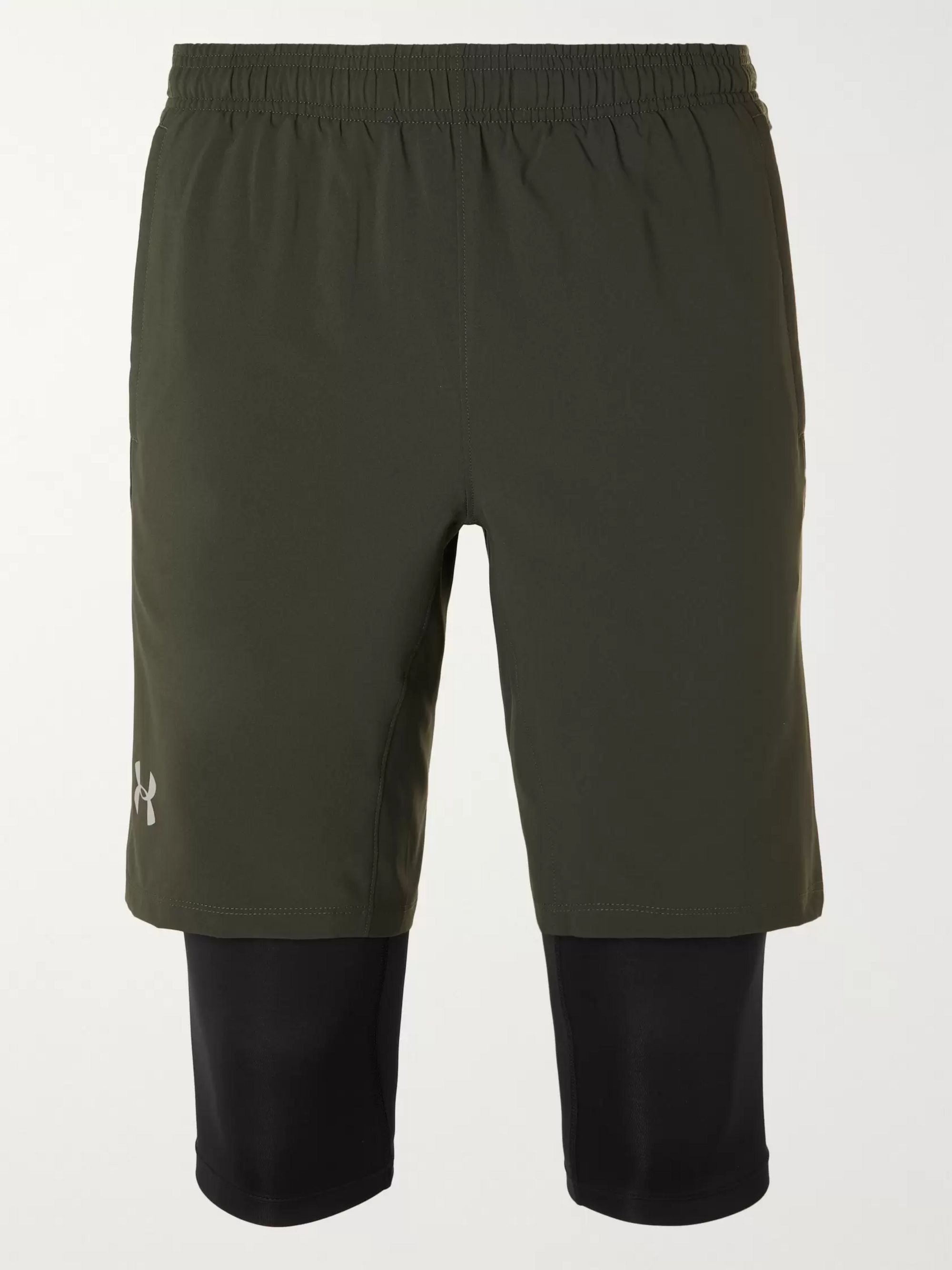 Green UA SW Slim-Fit Layered Stretch-Shell Shorts | Under Armour | MR PORTER