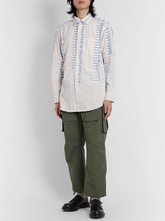 Engineered Garments Tasselled Striped Cotton-Voile Shirt
