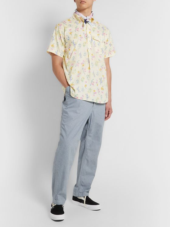 Engineered Garments Button-Down Collar Floral-Print Striped Cotton Shirt