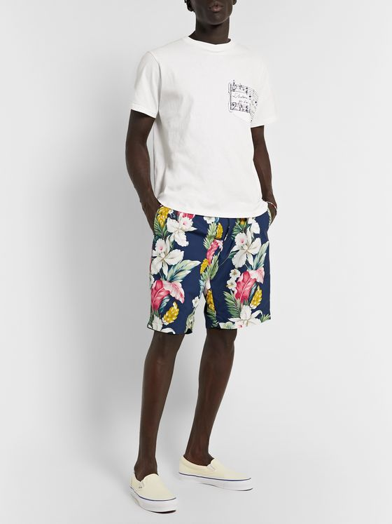 Engineered Garments Pleated Floral-Print Microfibre Shorts