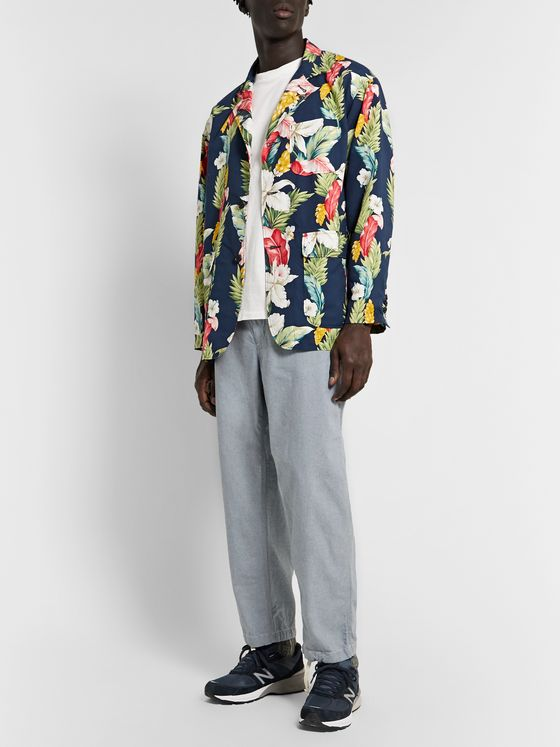 Engineered Garments Loiter Floral-Print Microfibre Blazer