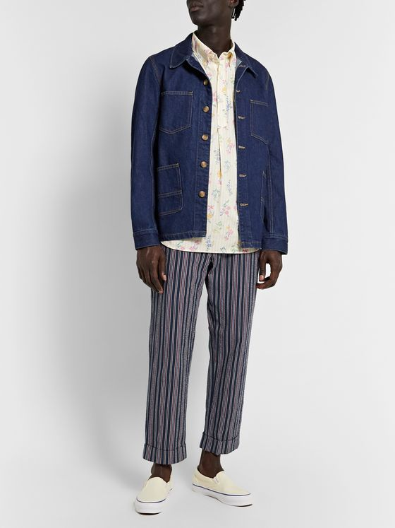 Engineered Garments Andover Tapered Striped Cotton-Blend Seersucker Suit Trousers