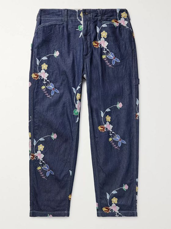Engineered Garments Embroidered Cotton-Chambray Trousers