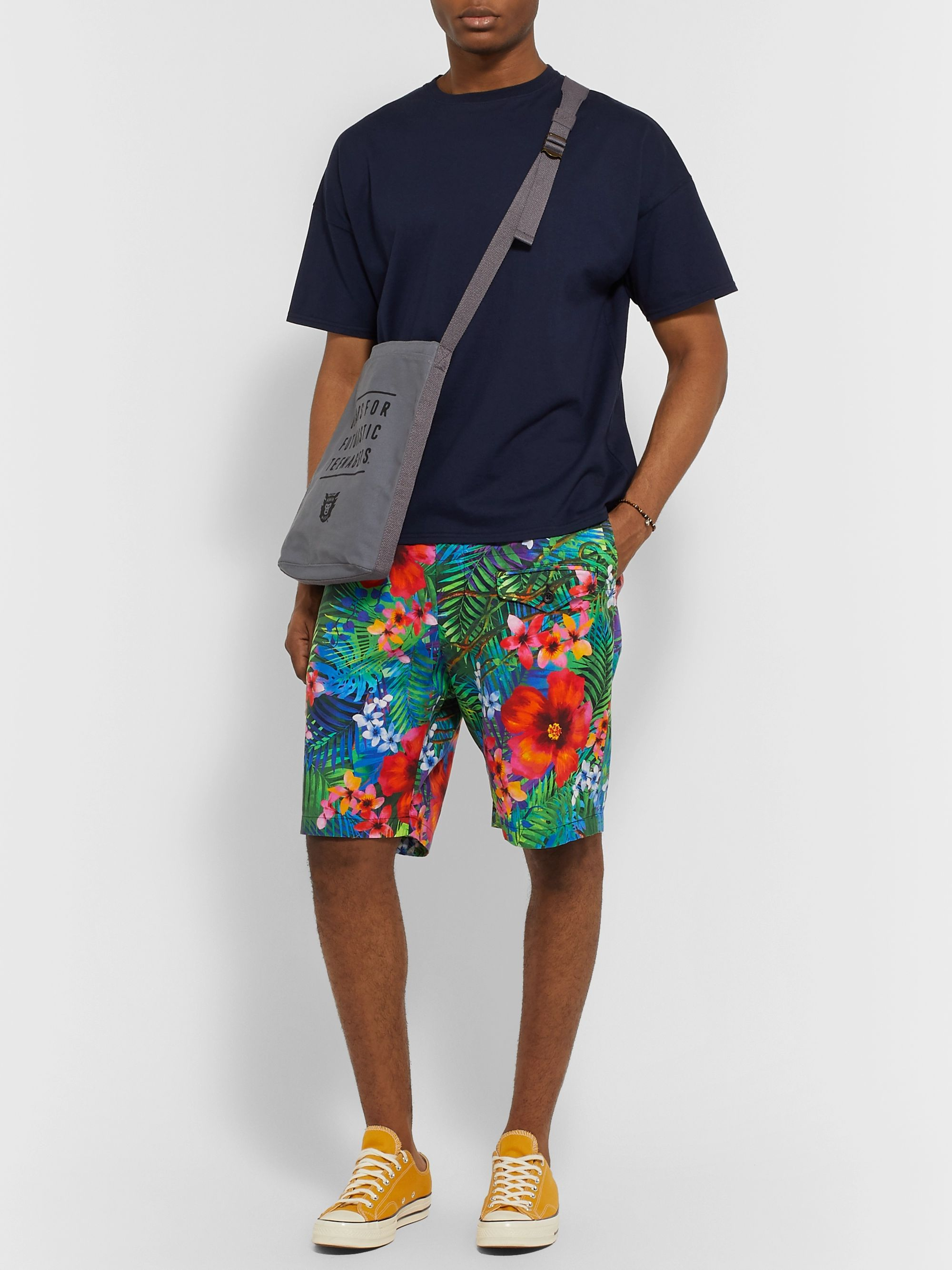 Engineered Garments Floral-Print Cotton Shorts