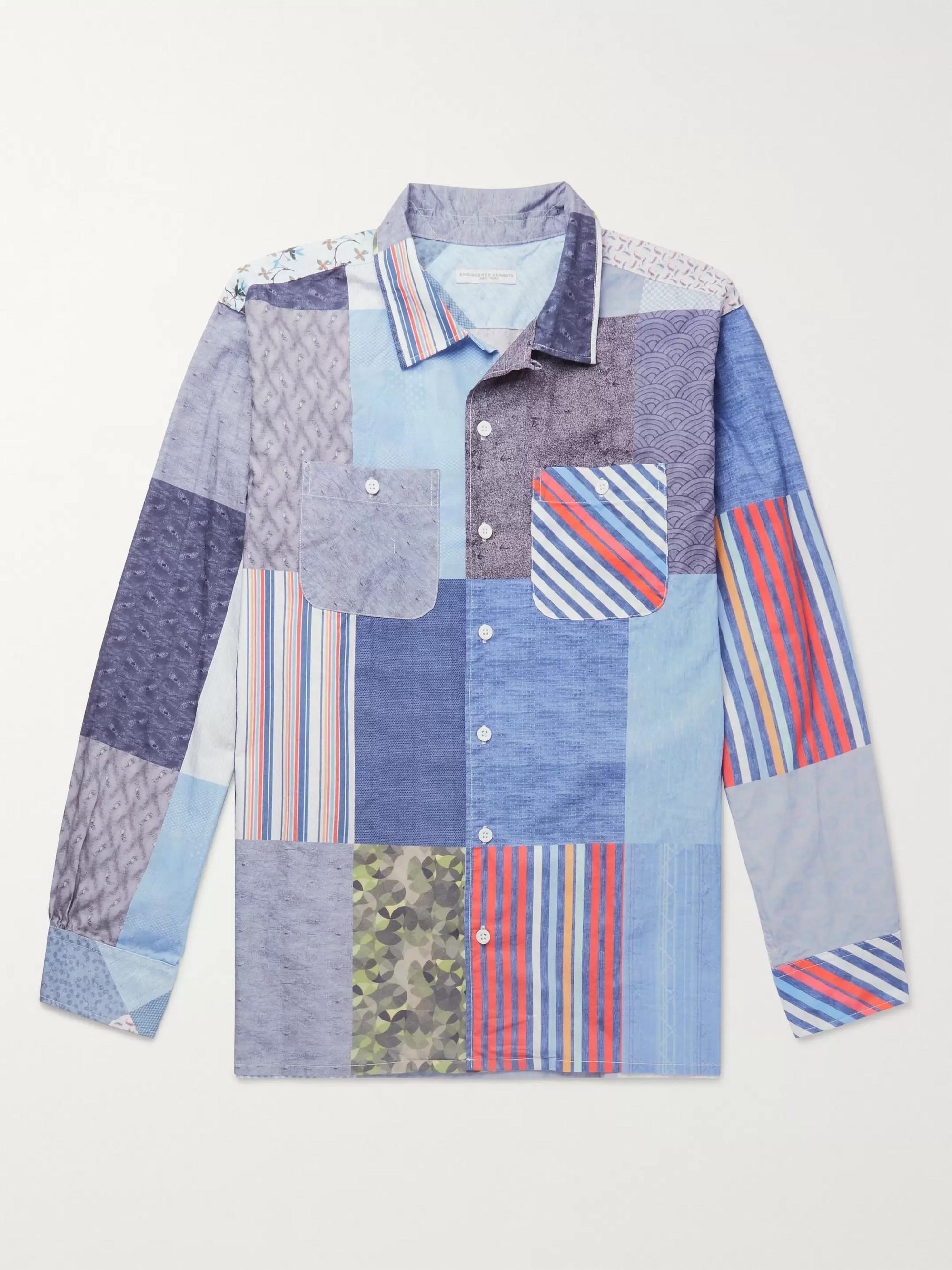 Engineered Garments Camp-Collar Patchwork Cotton Shirt