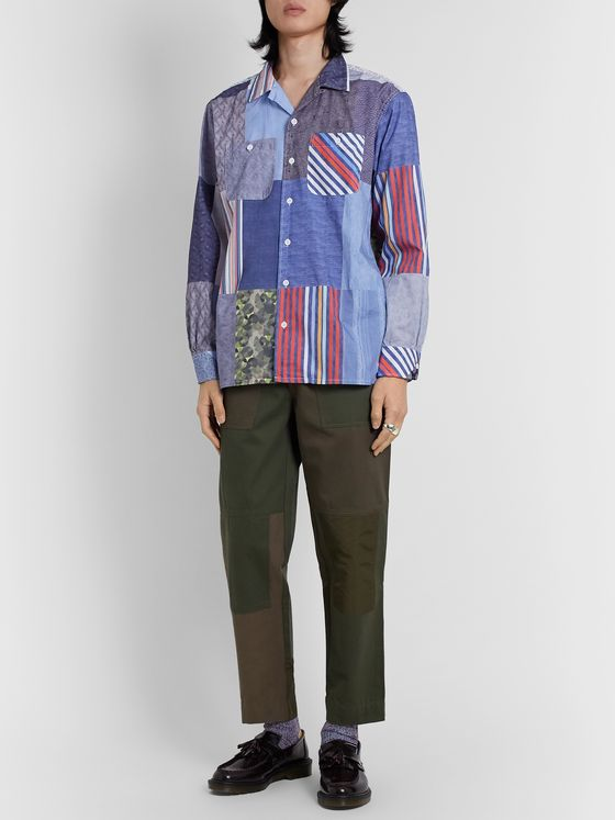 Engineered Garments Camp-Collar Patchwork Cotton Shirt