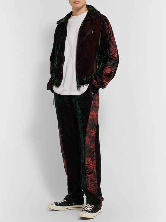 99%IS- Contrast-Trimmed Iridescent Velvet Sweatpants