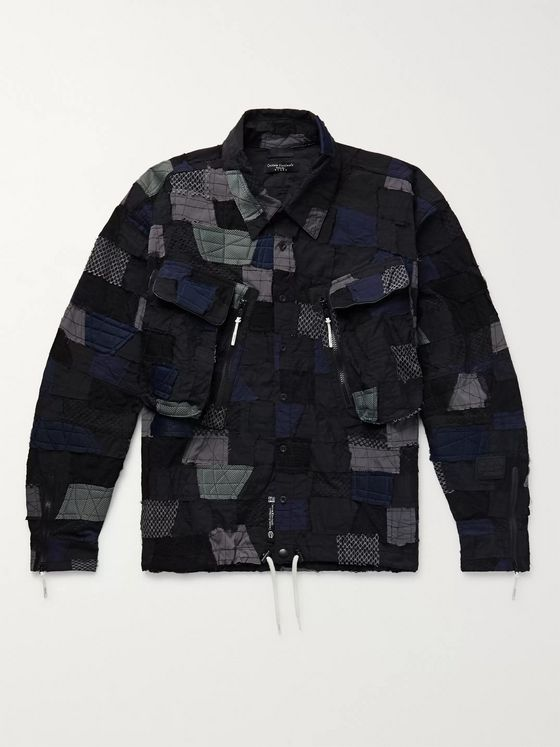 99%IS- Patchwork Embroidered Stretch-Nylon and Mesh Jacket