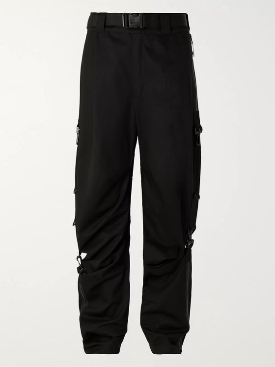 99%IS- Black Cotton-Twill Wide-Leg Trousers