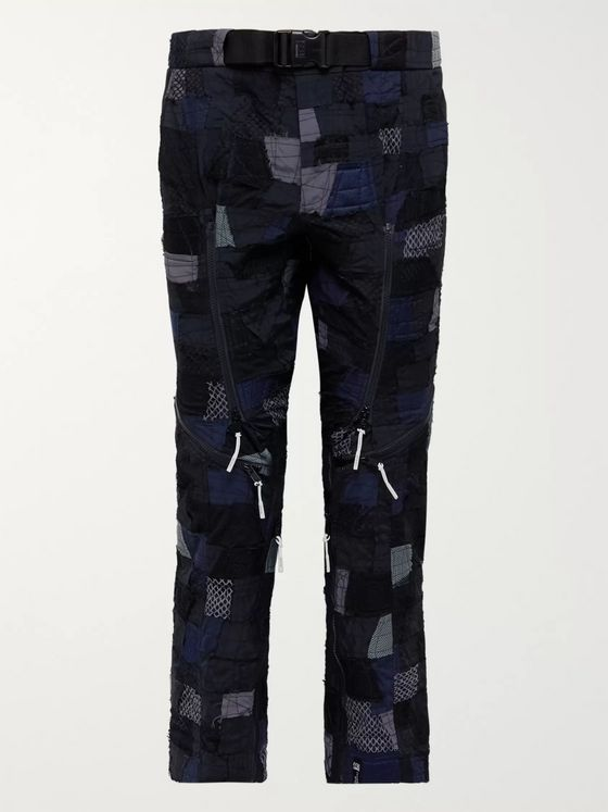 99%IS- Belted Patchwork Embroidered Stretch-Nylon Trousers