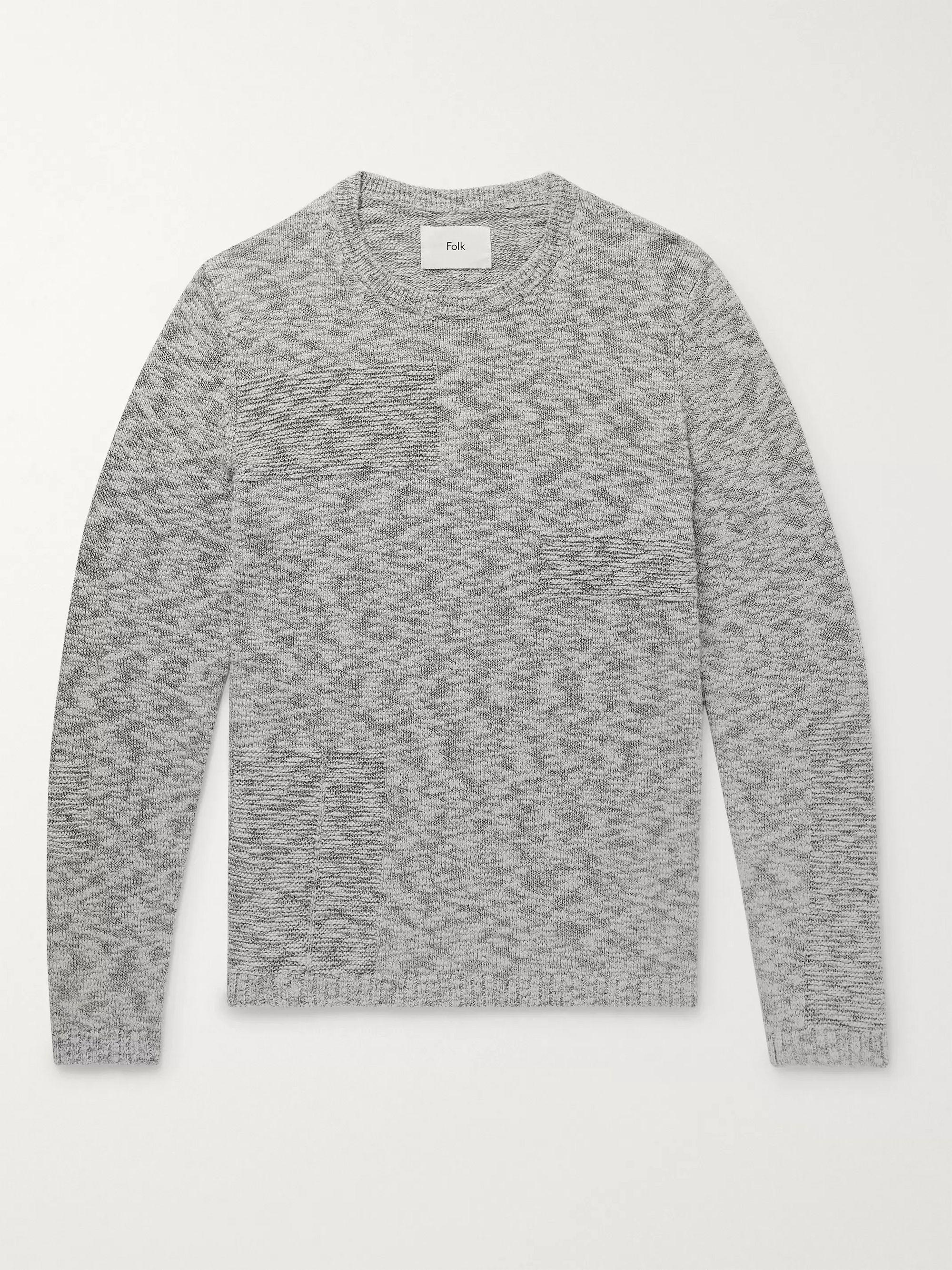 Folk Gray Slim-Fit Melange Cotton Sweater,Gray