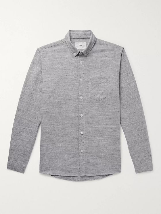 Folk Button-Down Collar Mélange Cotton and Linen-Blend Shirt